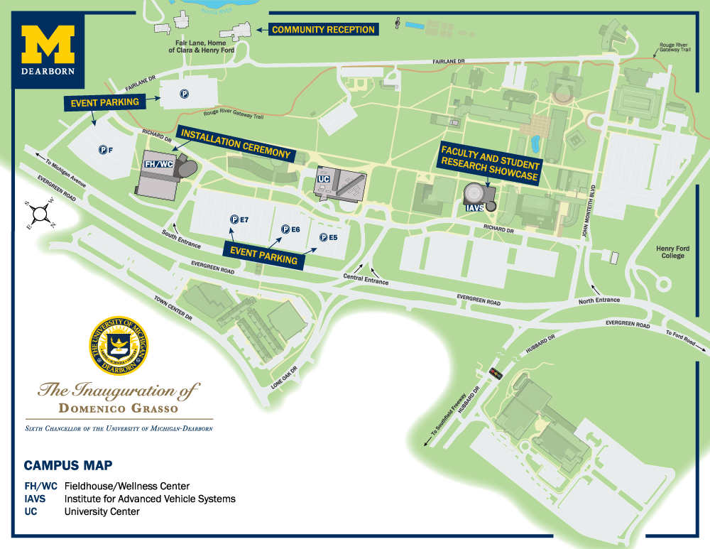 Uofm Campus Map.Map Of Inauguration Activities
