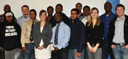 SIFE and YDB members pose for a picture together. Photo courtesy of Young Detroit Builders.