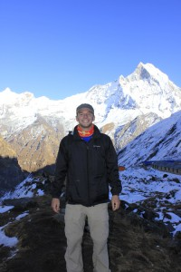 Chuck Tully in front of the Annapurna Himalayan Range at the Annapurna Base Camp in Nepal.