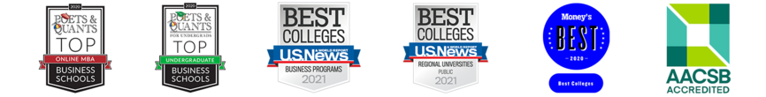 College of Business accreditation and rankings badges