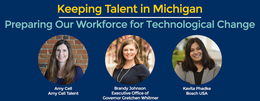 Keeping talent in Michigan panelists Amy Cell, Brandy Johnson and Kavita Phadke
