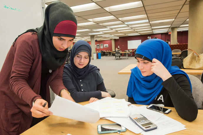 Students studying at the library.