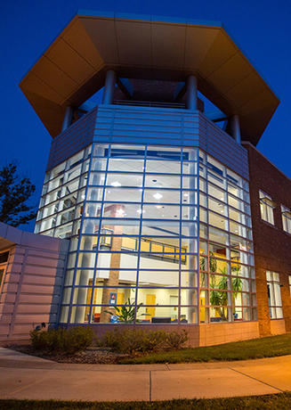 Science Learning and Research Center at night