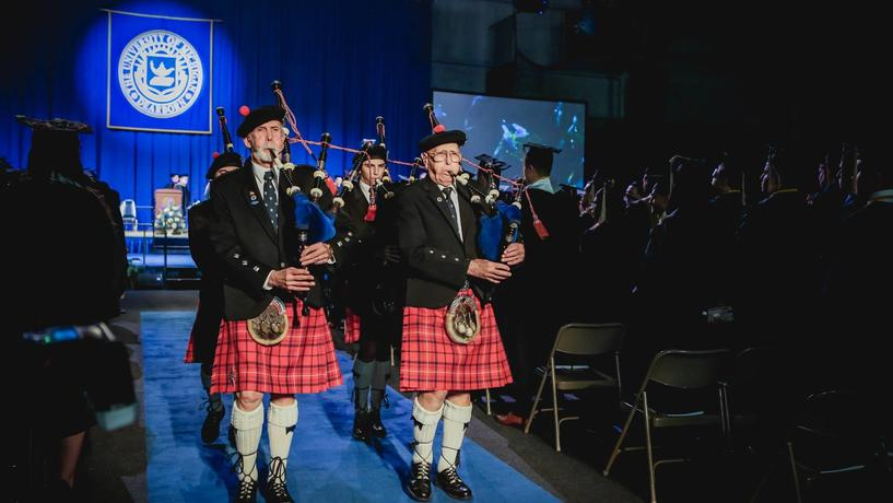 Bagpipers in the processional before Commencement