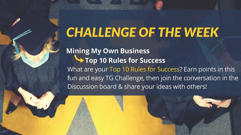 Twitter challenge image - top 10 rules for success
