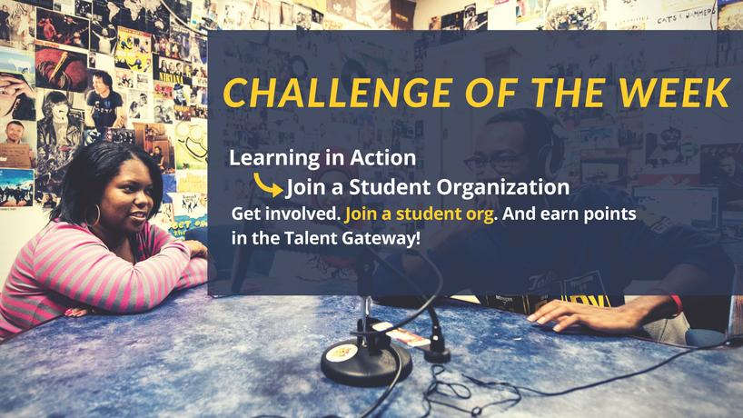 Twitter challenge image - join a student organization