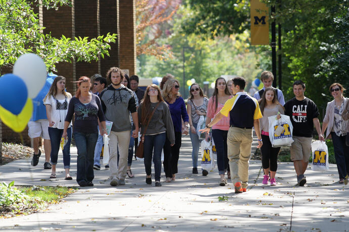 Prospective students taking a campus tour at UM-Dearborn