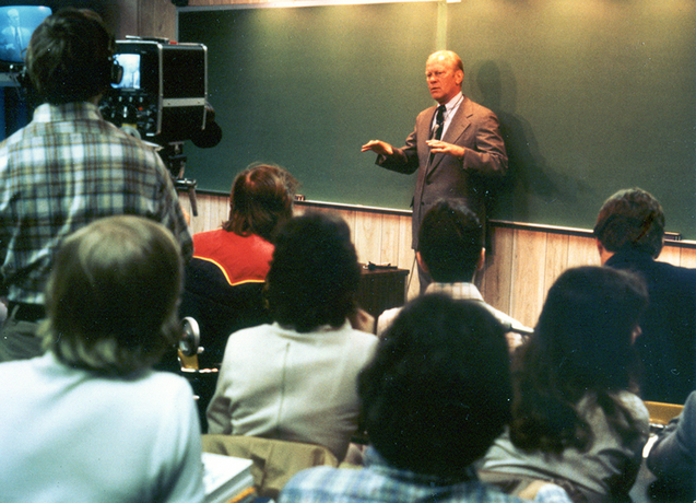 President Gerald Ford addressing students in a classroom in 1978