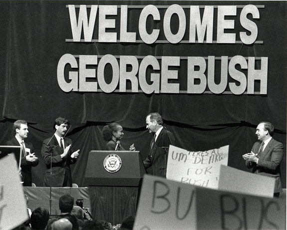 1988: Vice President George H.W. Bush visits the UM-Dearborn campus.