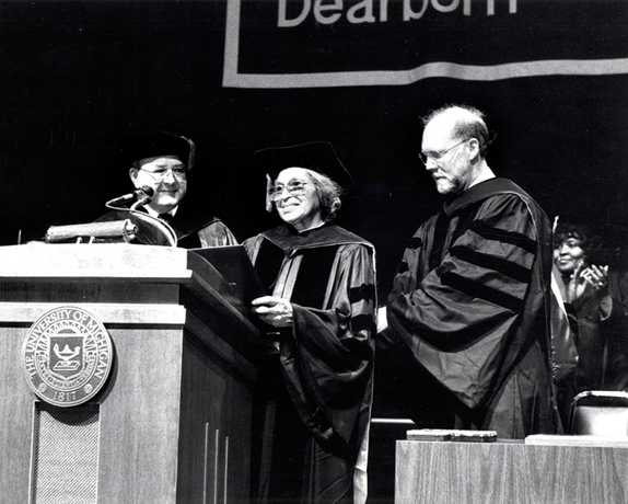 April 28, 1991: Rosa Parks awarded an honorary Doctorate of Law degree at UM-Dearborn spring commencement.