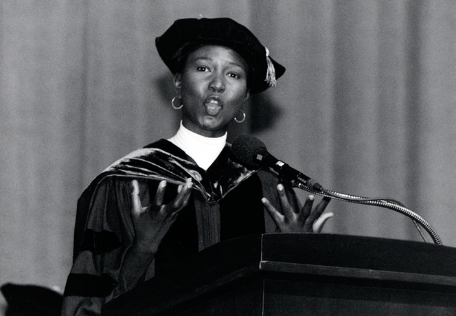 May 1994: Dr. Mae Jemison, former astronaut, receives an honorary degree.