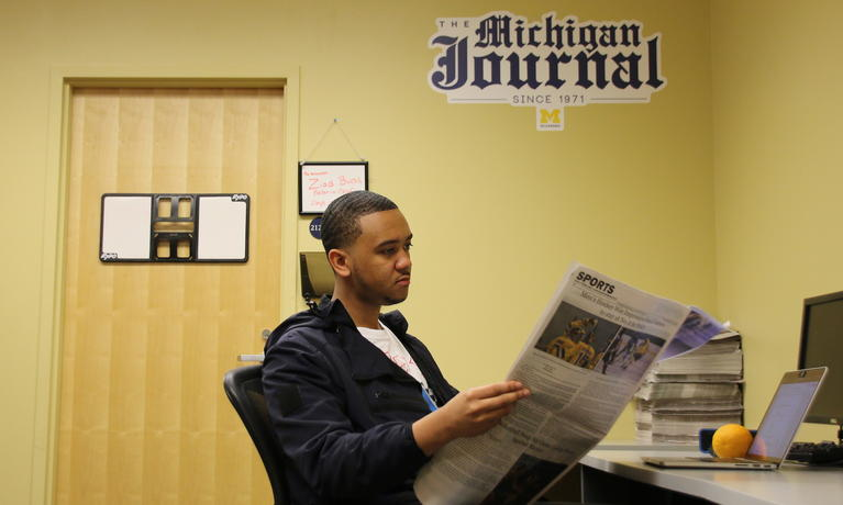 Adrian Maloy in the Michigan Journal office