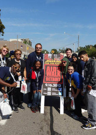Group of UM-Dearborn students at the Detroit AIDS Walk