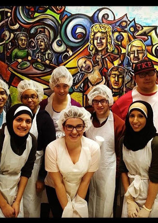 Group of UM-Dearborn students volunteering