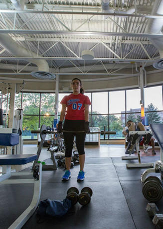 Student working out in the Wellness Center