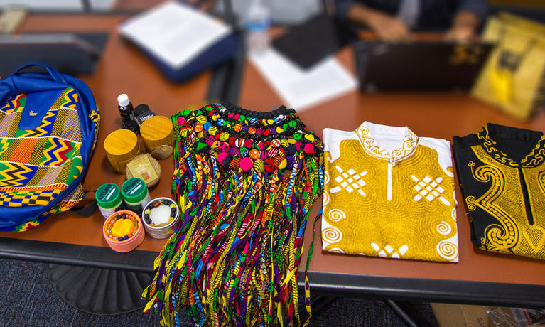 African business owners share their products with a College of Business class