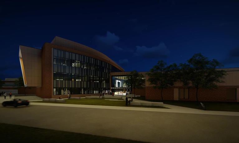 Engineering Lab Building at night