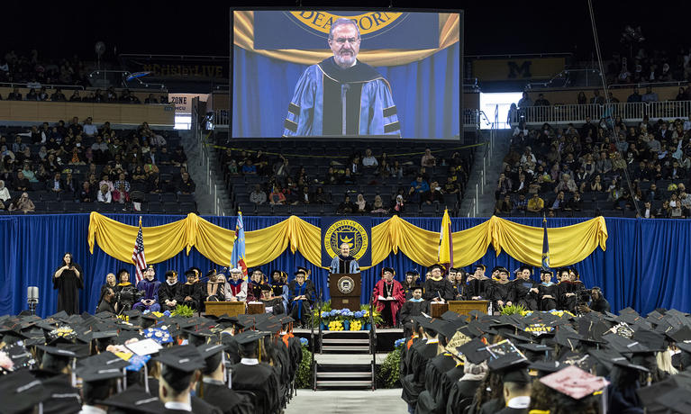 U-M President Mark Schlissel at UM-Dearborn Commencement