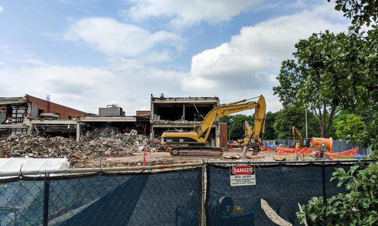 Summer construction alters the appearance of the Engineering Lab Building (ELB).