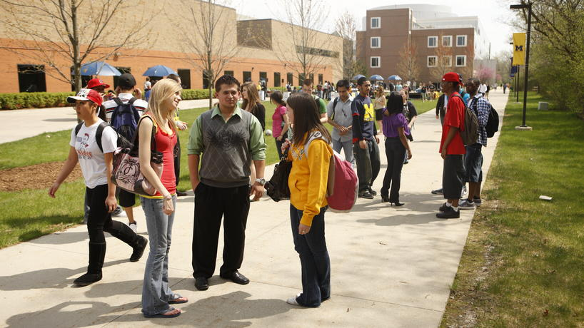 Students talking outside of the University Center.