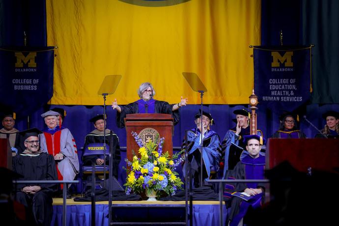 Provost Kate Davy gave a decade of service to UM-Dearborn and shared her life experiences with Fall 2019 graduates.