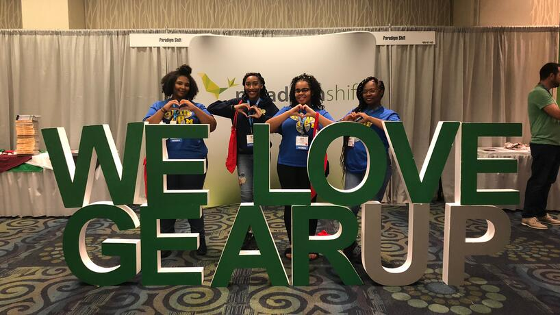 GEAR UP students (from left to right) Daisha Roberts, A'Lyse Thomas, Leah Patrick, and Deyonna Chambliss showing their appreciation at the GEAR UP conference.