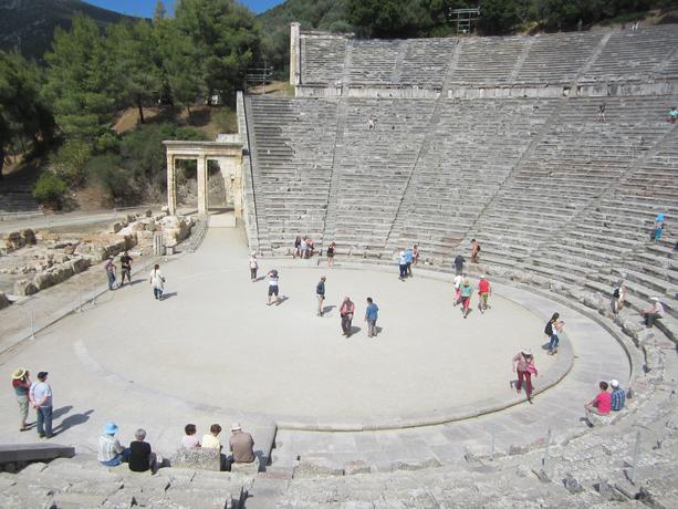 Study abroad participants exploring the Ancient Theatre of Epidaurus in Greece
