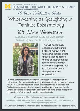 Dr. Nora Berenstain on campus Nov 19