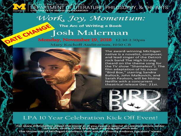 Josh Malerman on campus Nov 19