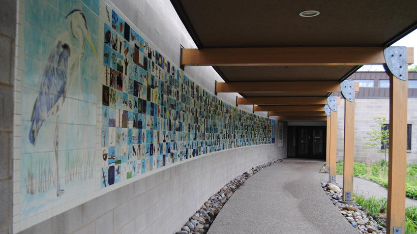 Environmental Tile Wall along entrance to Environmental Interpretive Center