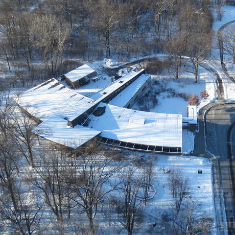 Aerial view of EIC building in winter