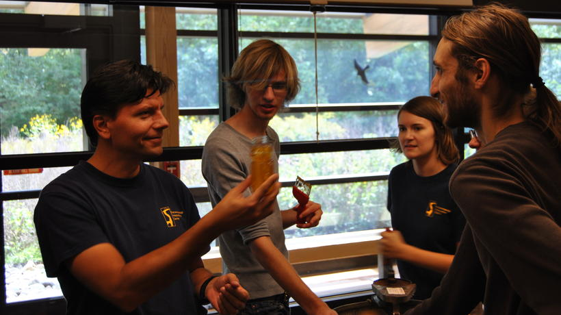Dr David Susko and student volunteers bottle honey from the urban apiary