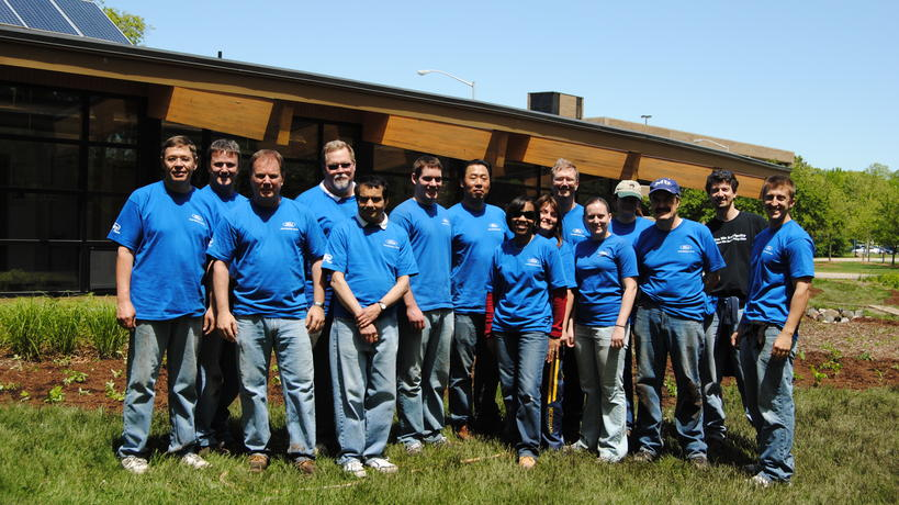 Ford Motor Company volunteers help to build the EIC rain garden