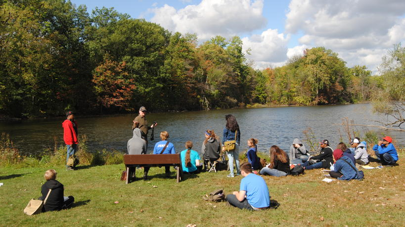 Homeschool students learning about Fairlane Lake in the Environmental Study Area