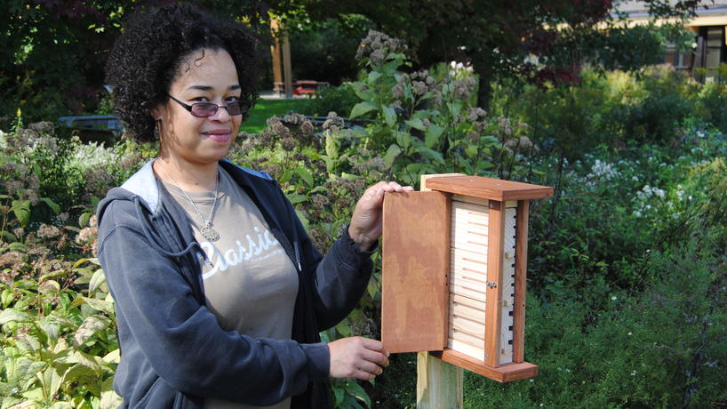 EIC Sustainability Intern, Julia Fobes, and her insect hotel project