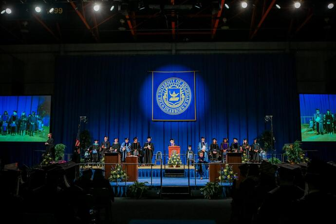 Commencement stage at the Fieldhouse