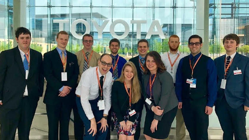 Well at the 9th Annual Association for Information Systems Conference in Texas, students toured and networked with employees at Toyota Motor Corporation and the State Farm Insurance Group.