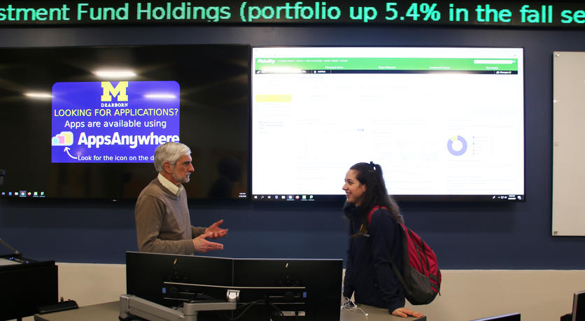 Brooke Spiegel talks with Finance Lecturer Nicholas Vlisides in the Bloomberg Finance Lab.