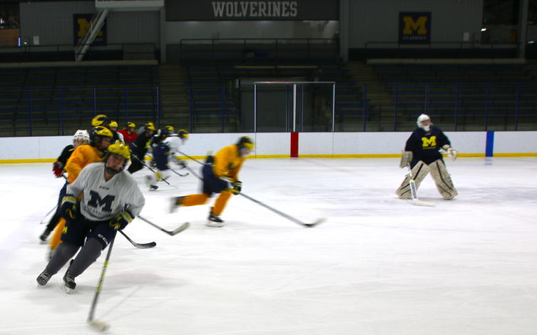 The ice hockey team works together during practice drills.