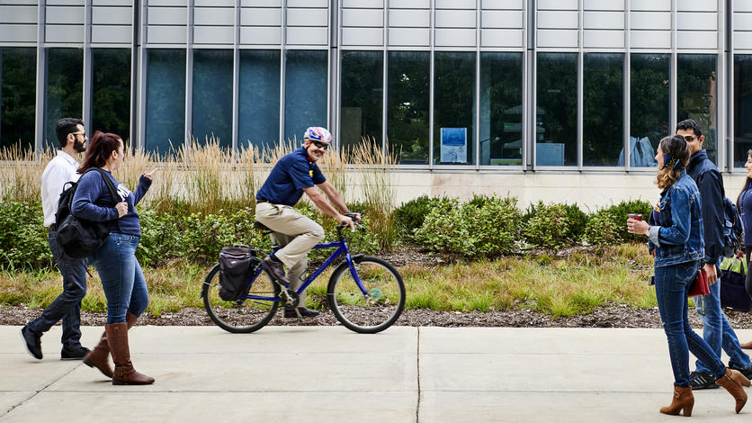 Chancellor Domenico Grasso often bikes to work from his home in Dearborn.