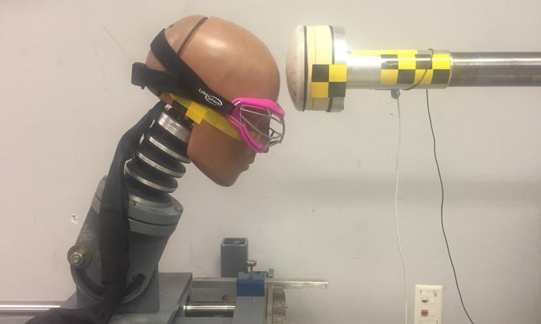 A crash test dummy head form, sporting the headband-mounted sensors.