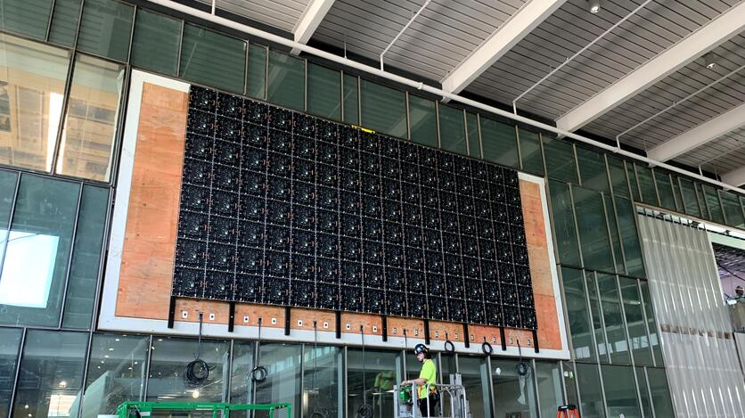 Future home of the atrium's 29-foot multimedia display, one of the last things to get installed.