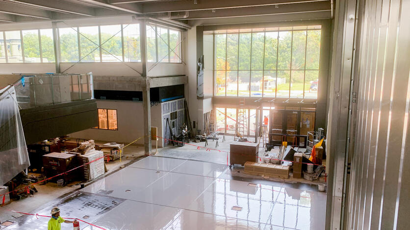 The architectural highlight of the ELB's interior is its massive atrium. It will be the largest gathering space on campus outside of the Fieldhouse.