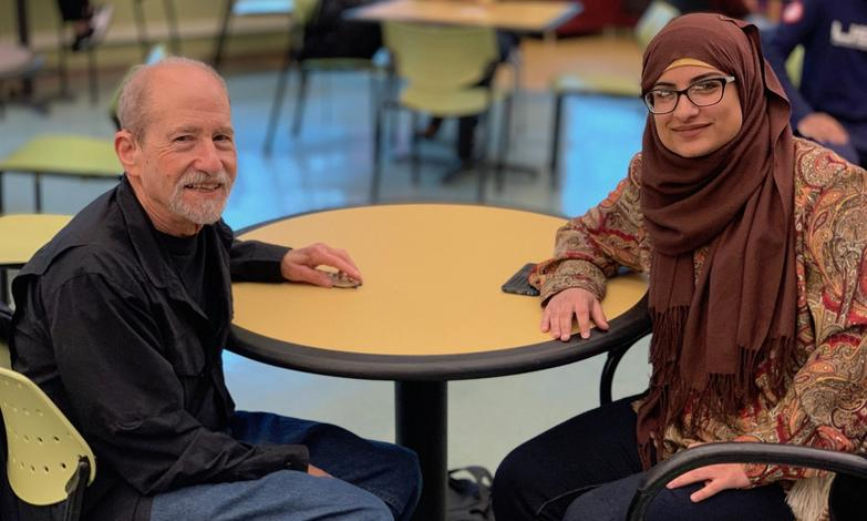 Baumgarten continues to connect with students like Raehanna Ahmed.