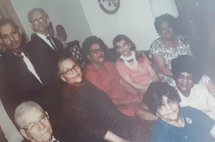 Hill's Aunt Corrie (bottom right, in white) with her brother Rev. Heyward W. Stewart (bottom left) and their siblings.