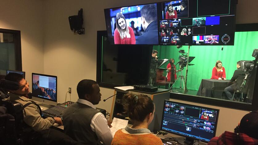 Students at work in the JASS Studio Control Room