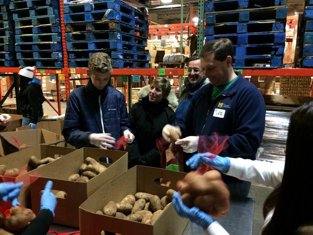 January 21, 2019: The chancellor and his wife visit Gleaners Food Bank, a UM-Dearborn MLK Day Service Site.