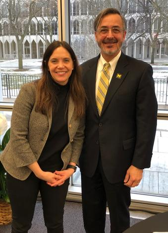January 24, 2019: The chancellor with New Detroit Board Chair, Rachel Tronstein Stewart. Domenico is officially on the New Detroit Board of Directors.