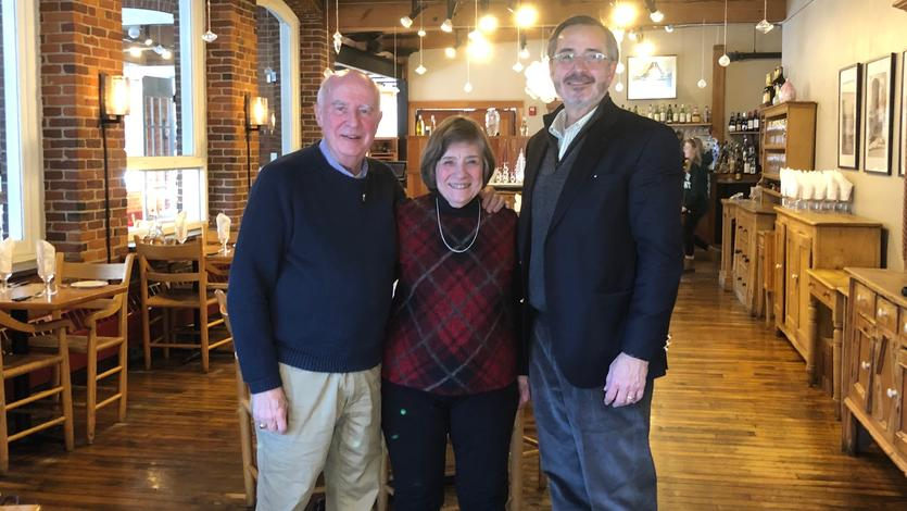 January 31, 2019: The chancellor meets with alums Dick and Linda Dyer at Simon Pearce in Quechee, Vermont.
