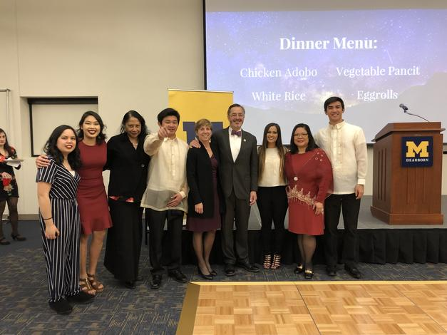 February 9, 2019: Chancellor Grasso, and his wife Susan, attend the UM-Dearborn Student Association for Filipino Americans's Cultural Night.